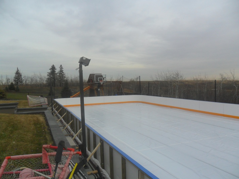 40u0027 X 80u0027 Backyard Hockey Rink With Custom Hockey Boards, Calgary, AB